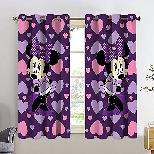 Cortinas de armario con diseño de dibujos animados, diseño de Minnie Mickey con ojales en la parte superior de 55 x 63 cm