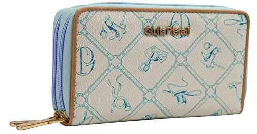 Halal-Wear Giulia Pieralli Damen Geldbörse mit Doppel Reißsverschluss Modell 02A Glamour portmonee Portemonnaie Frauen Geldbeutel Geldbörsen (Blau)