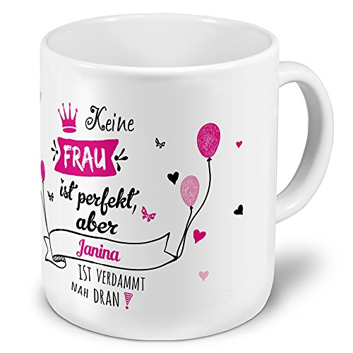 printplanet XXL Riesen-Tasse mit Namen Janina - Motiv Nicht Perfekt, Aber. - Namenstasse, Kaffeebecher, Becher, Mug