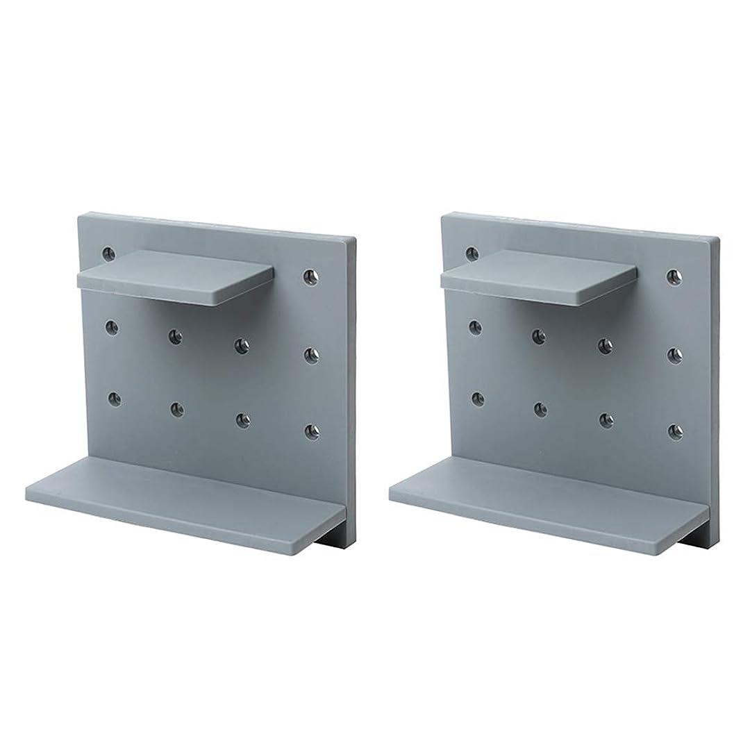 視聴者見落とす威するBESTONZON 2ピース壁掛け収納ラックdiy装飾ボード穴付きフローティング収納棚用浴室寝室キッチングレー