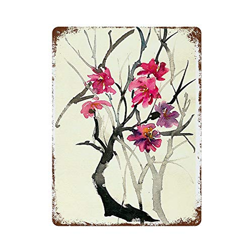 SKKI - Placa vertical para pintura con plancha, diseño de flores pintadas a mano, color morado