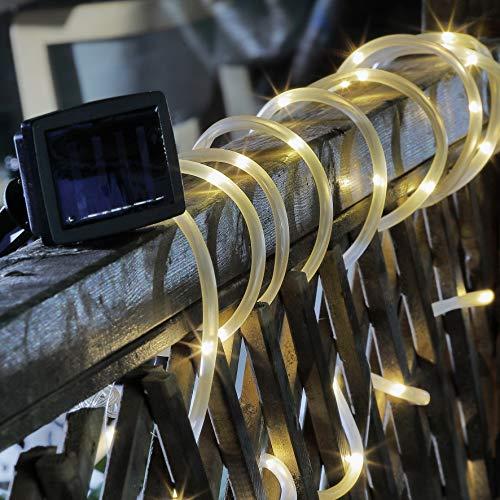 Benelando® Solar Lichtschlauch 7 Meter mit 50 weißen LEDs und Erdspieß (1)