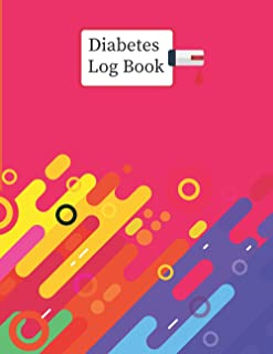 Diabetes Log Book: 2 years, Daily Target Blood Sugar Range Insulin Does Carb Phys Activity Record (Red Color Pattern Design)