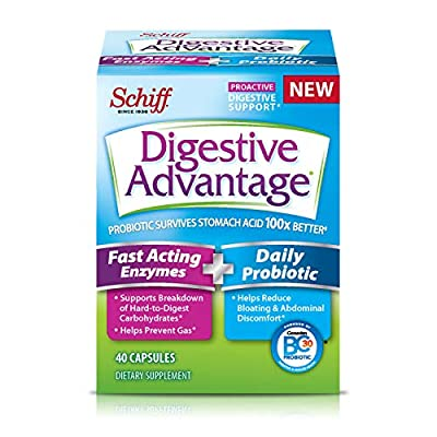 Digestive Advantage Fast Acting Enzymes & Daily Probiotic Capsules- Support Breakdown of Hard To Digest Foods & Prevent Gas, 40 Count