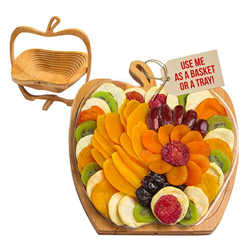 Dried Fruit Gift Basket Tray Turns into Basket, Healthy Gourmet Snack Box, Holiday Food Tray - Bonnie & Pop