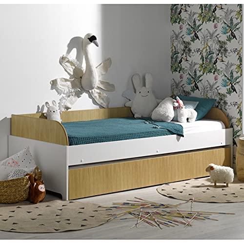 Alfred & Cie – Pack cama nido + 2 colchones Magnus blanco y madera