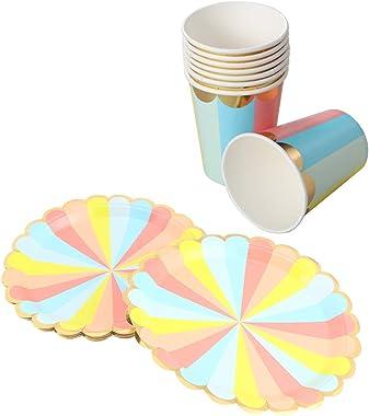 PRETYZOOM 16 Piezas de Vajilla de Fiesta Vasos Y Platos de Papel Vajilla Desechable Colorida con Bordes Dorados Suministros d