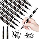 GOLDGE 8pcs Stylos de Calligraphie, Feutre à Pinceau Souple, Stylo-feutre Pointe Souple 4 Tailles Différentes et 2 pcs Encre Noire pour le Dessin, la Pratique de la Calligraphie, le Lettrage à la Main