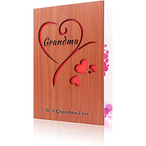 Creawoo Handmade Wooden Grandma Greeting Card, the best gift for Grandma on birthday or mother's day