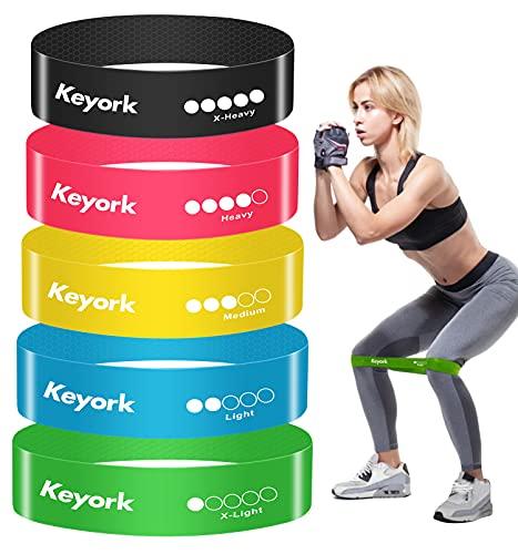 Keyork Bandas Elásticas Fitness/Bandas de Resistencia,[con Textura Antideslizante] Set de 5 Cintas Elásticas Fitness y Musculación de Látex Natural- (color-5PCS)