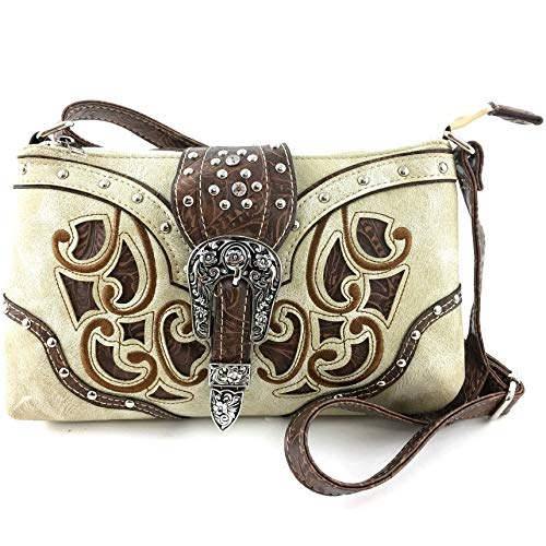 Justin West Floral Embroidery Laser Cut Leather Turquoise Stone Concho Rhinestone Studded Messenger Bag Purse with Long Crossbody Strap (Beige)