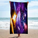 Microfiber Beach Towel Purple Starry Sky First Quick Dry Soft Lightweight Compact Sand Free Towel, Highly Absorbent, Perfect for Camping, Travel, Beach, Swimming Tiger
