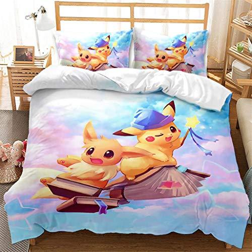 Housse de Couette 220x240cm Pokemon, Pikachu Enfant Parure de lit Imprimée en 3D, Souple, Confortable - Microfibre