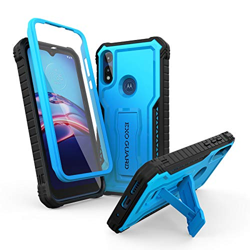 ExoGuard for Moto E Case, Rubber Shockproof Full-Body Cover Case Built-in Screen Protector and Kickstand Compatible with Moto E Phone 2020 (Blue)