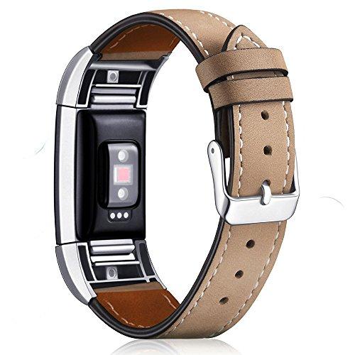 Aisports Leder-Armband für Fitbit Charge 2 Smart-Watch, verstellbares Ersatzband, Metall-Armband...