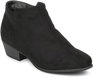 Women's Western Ankle Boots Block Stacked Heel Booties Side Zip Low Chunky Heel Slip on Shoes RD1