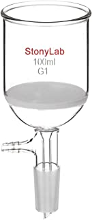 StonyLab Borosilicate Glass Buchner Filtering Funnel with Coarse Frit (G1), 56mm Inner-Diameter, 60mm Depth, with 24/40 Standard Taper Inner Joint and Vacuum Serrated Tubulation (100 mL)