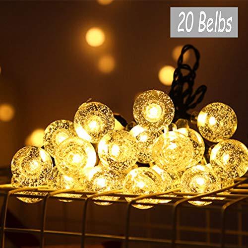Guirnalda Luces Exterior, Fansu 8 Modos Solares Cadena de Luces, Impermeable Luces Jardín para Iluminación Interiores Exteriores Jardín Navidad Terraza Fiestas (Blanco cálido,12m/ 100LED)
