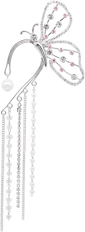 DFGDSF 1pcs Stylish Crystal Clip on Earring Butterfly Imitation Pearl Bead Ear Cuff Long Tassels Charm Hollow Ear Clip Accessories