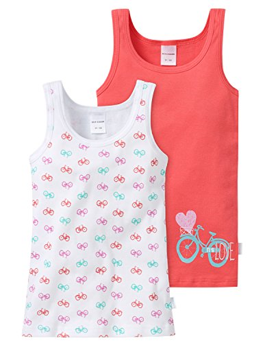 Schiesser Mädchen 2-Pack Hemd Unterhemd, Mehrfarbig (Sortiert 8 901), 104 (2er Pack)