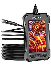 Rotek Endoscopio Industrial, Cámara de inspección HD 1080P Boroscopio Digital de Doble Lente IP68 Cámara Serpiente Impermeable con batería de 2600 mAh-5 Metros; 8 Luces LED Tarjeta de 32 GB TF