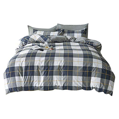 2/3 Pieces Non-iron Duvet Cover Set Include Quilt Cover and 50x75cm Pillowcase, Geometric Modern Stripe Man Woman Bedding Set with Zipper Polyester (White Grey, 220 x 240cm for King Bed)