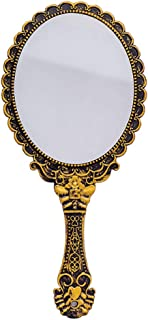 Handheld Mirror with Handle Vintage Compact for Personal Makeup Vanity Hand Held Mirror Tone Victorian Vanity Mirror 9.8x4.5in
