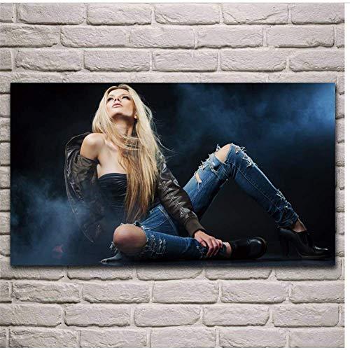 blonde vrouw model gescheurde jeans hoge hakken rook kunst woonkamer decor thuis kunst aan de muur poster -60x100cm geen frame