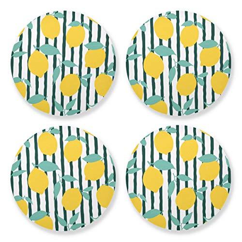 Posavasos para bebidas absorbentes – Limón fruta Natural taza Mat con respaldo de corcho (juego de 4 piezas) 10,4 cm para decoración de bar