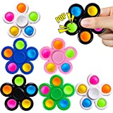 Kavkabx Pop Fidget Spinners Toys 6 Pack, Push Bubble Fidget Spinners for Kids-Pop Sensory Fidget Toys-Fidget Packs Hand Spinner for ADHD Anxiety, Stress Relief Sensory Party Favor Toys For Kids Adults