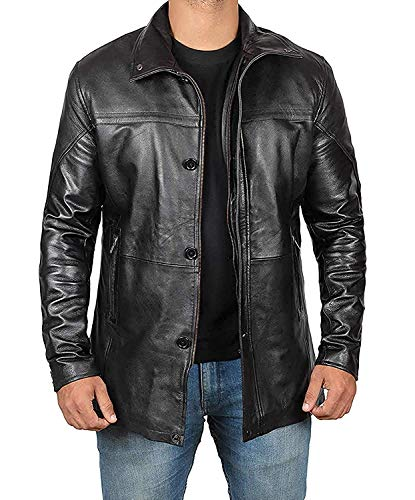 Decrum Black Leather Coats for Men Jacket | [1500144] Bristol, L