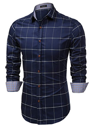 Coofandy Men's Fashion Long Sleeve Plaid Button Down Casual Shirt, XX-Large, Blue