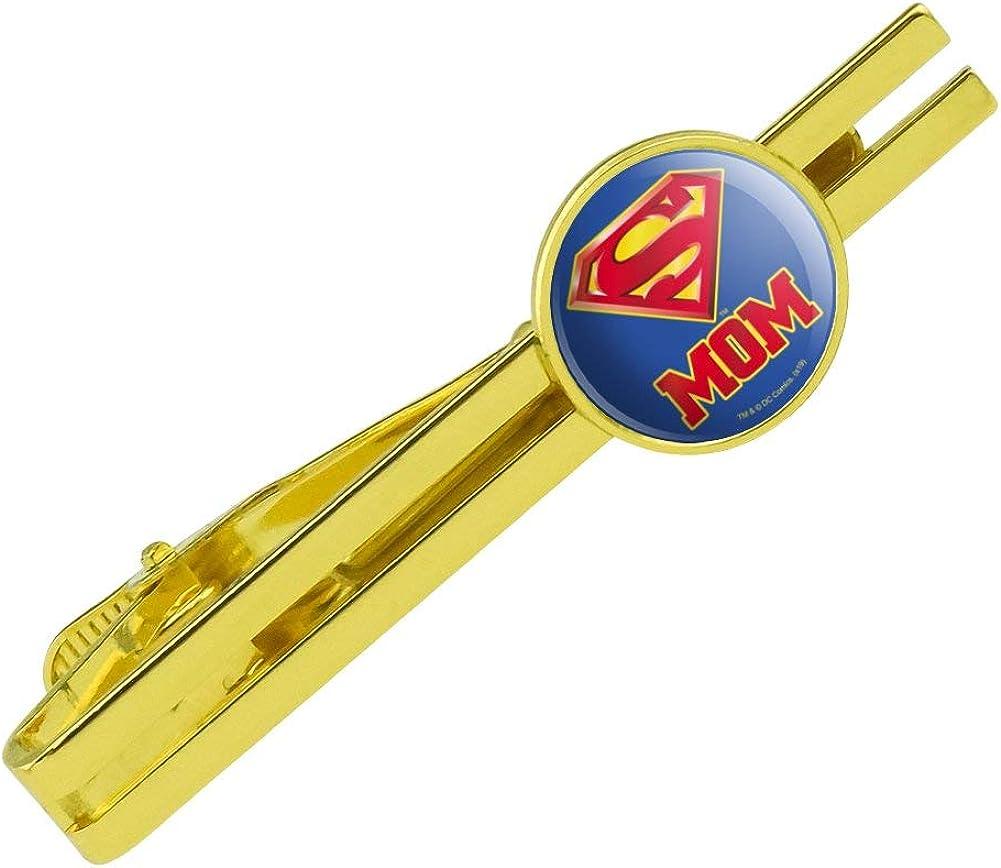 GRAPHICS & MORE Superman Super Mom Shield Logo Round Tie Bar Clip Clasp Tack Gold Color Plated