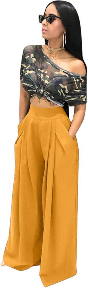 Hzikk Fashion Personality Bell Bottom Pants Wide Leg Casual Pants Autumn and Winter Wide Leg Pants,Yellow,M