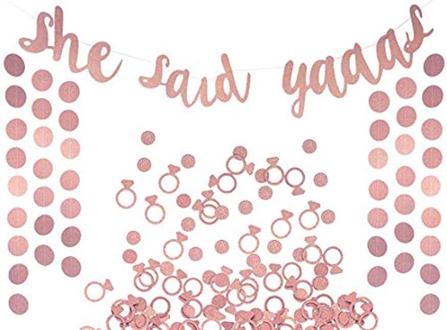 She Said Yaaas Banner, Garland & Confetti Set - Bachelorette, Engagement or Wedding Party Decorations - Sparkly Rose Gold Decorations with Super Fun Diamond Ring & Circle Confetti (Rose Gold)