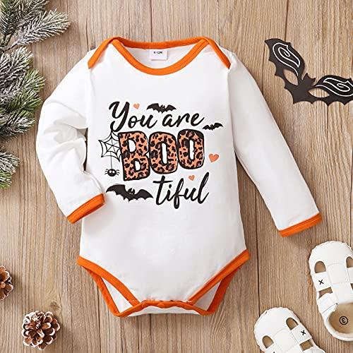 Boshivw Body para bebé de una pieza, conjunto de body de moda para niños y niñas, manga larga con estampado de caricatura de Halloween para 0 – 18 meses, Blanco, 0-3 Meses