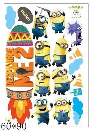 TJFGJ 3D Etiqueta de La Pared de Alcantarillado Minions Pegatinas de Pared for Habitaciones de Niños y Kindergarten PVC Pegatinas de Coche Despicable Me Poster Decoración for el hogar (Color : 6)