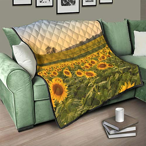 Flowerhome Colcha reversible con diseño de girasol, para sofá, cama, color blanco, 150 x 200 cm