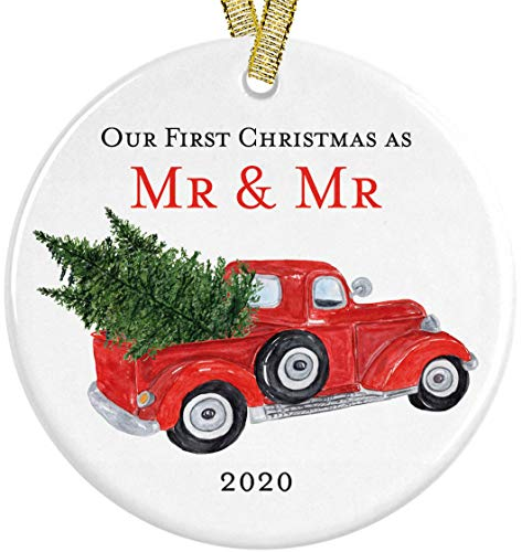 Married Gay Newlywed Couple Our First Christmas as Mr and Mr 2020 Red Vintage Pickup Truck Modern Farmhouse 3' Ceramic Round Ornament with Metallic Gold Ribbon + Free Gift Box