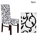 WENTS Printed Dining Chair Slipcovers 2 PCS Stretch Dining Chair Covers High Back Chair Protective Cover Slipcover for Dining Room Kitchen Ceremony Wedding Banquet Hotel and Party(White and Black)