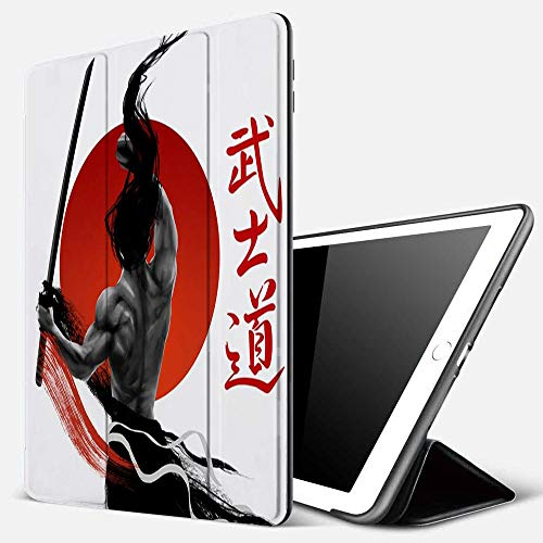 iPad 9.7 inch 2017/2018 Case/iPad Air/Air 2 Cover,Japanese Samurai at Practice with Muscles Katana Japanese Sun Asian Discipline,PU Leather Shockproof Shell Stand Smart Cover with Auto Wake