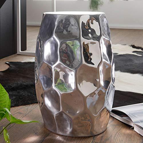 FineBuy Tavolino Salotto Martellato Metallo Tavolo da Soggiorno 30x30x47 cm | Tavolinetto Rotondo Orientale | Tavolino da caffè Piccolo (Argento)