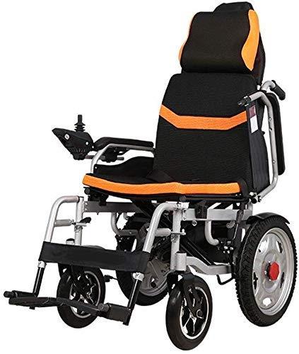 ZHANGYY Silla de Ruedas eléctrica Ligera y Plegable para Ancianos discapacitados Silla de Ruedas eléctrica Inteligente Totalmente automática con propulsión asistida (Color: Rojo)