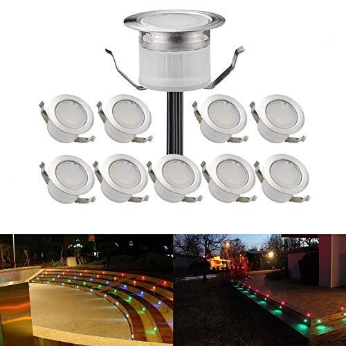 10er WIFI RGB LED Bodeneinbauleuchten terrassenbeleuchtung Arbeitet mit Alexa, Google Home,DC12V Ø31mm IP67 Wasserdicht LED Einbaustrahler Terrassen Full Kit