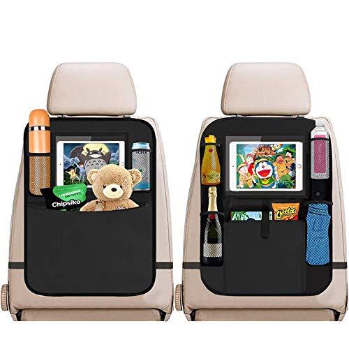 SANBLOGAN Auto Rücksitz Organizer Kinder, 2 Stück Auto Rückenlehnenschutz Kick-Matten-Schutz für Autositz Autositzschoner Auto Organizer-Taschen iPad-Tablet-Schutz für Autositz,