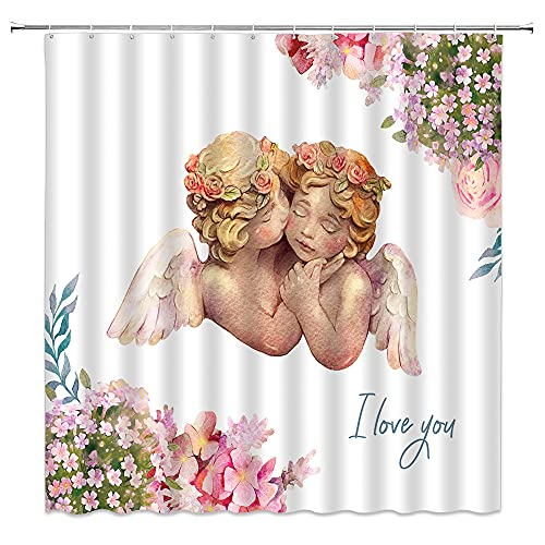 Angels in Heaven Shower Curtain Decor Cute Watercolor Angels in Fantasy Garden Bathroom Curtain Polyester Fabric Machine Washable with Hooks 70x70 Inches