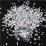 1 tarro de brillo de uñas iridiscente mixto estrella Luna corazón puntos forma lentejuelas copos colores transparentes Paillette decoración de uñas