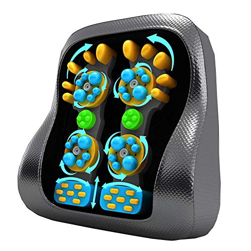 Shiatsu Back Neck Massager with 8 Rolling Nodes, 3D Kneading & Deep Tissue and Vibration Massage Seat Cushion,Black