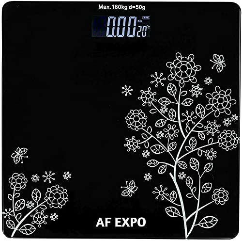 AF EXPO Heavy Thick Tempered Glass LCD Display Digital Personal Bathroom Health Body Weight Weighing Scales For Body Weight ( Flower Design ) (Black)