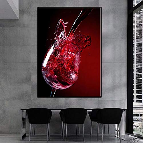 Cartel nórdico abstracto Nadar Copa de vino Lienzo Pintura Arte de la pared Imágenes para sala de estar Prins modernos Decoración para el hogar mural -40x60cmSin marco